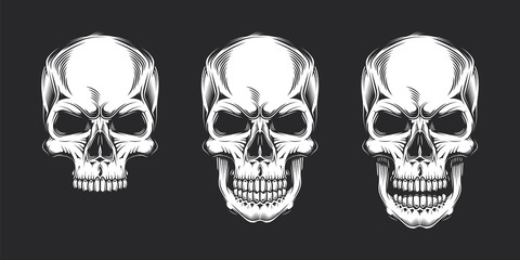 Vintage monochrome prints with skulls. Isolated vector illustration, on black background.