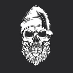 Skull Santa Claus vintage style. Monochrome vector illustration.