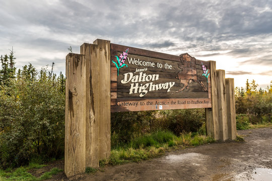 Alaska, USA - Sept 10th 2017 - The Dalton Highway welcome sign in Alaska in Usa