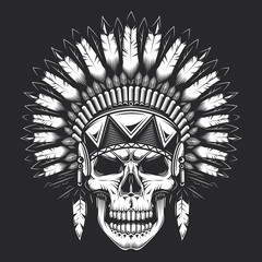 Skull in american indian vintage style. Monochrome vector illustration.