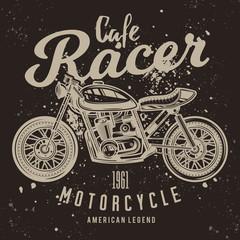 Vintage Cafe Racer Motorcycle Poster. Vector illustration. T-shirt design