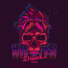 Hipster skull fashionable hair style in motorcycle glasses. Vector illustration of vintage neon.