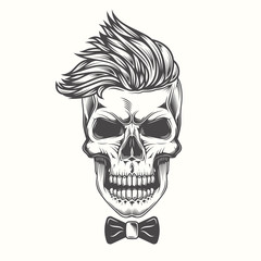 Hipster skull with a fashionable hairstyle in a vintage style. Monochrome vector illustration.