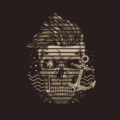 Monochrome hipster skull in marine style with sunset and palm trees. Original vector illustration. T-shirt design