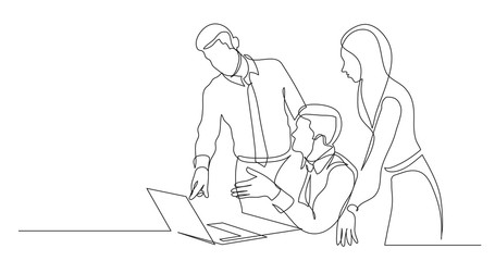 modern team members discussing work project on laptop computer - one line drawing Fotobehang
