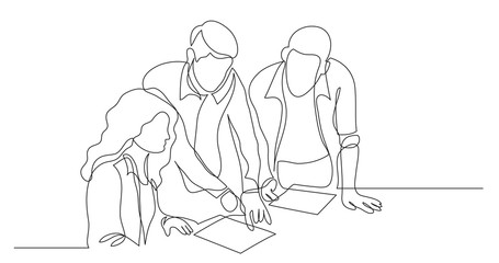three coworkers discussing project on paper - one line drawing Wall mural