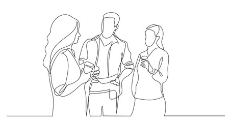 three coworkers chatting drinking coffee - one line drawing