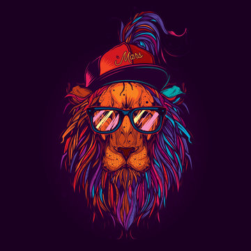 Original vector illustration in neon style. A lion with glasses and a cap. Design for t-shirt or sticker