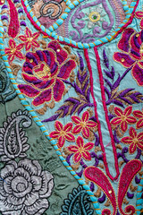 Detail old patchwork carpet, India. Close up