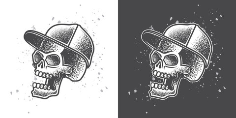 The skull is in the cap. Monochrome vector illustration. T-shirt or sticker design.