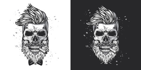 Skull hipster with a beard and a mustache with a cigar in his mouth. Monochrome vector illustration on white and dark background.