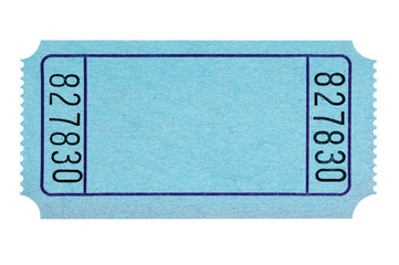 Blank blue raffle ticket isolated on white