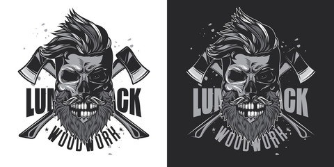 Skull lumberjack with beard and mustache on the background of axes. Monochrome vector illustration on white and dark background.