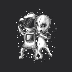 Astronaut taking a photo on the phone with an alien.  Original monochrome vector illustration. Design on t-shirt or stickers.