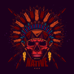 American Indian in vintage style. Original vector illustration. Design on t-shirts or stickers.