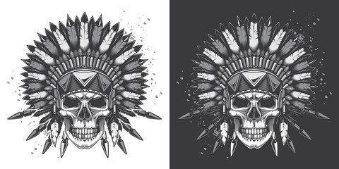 Skull in American Indian vintage style. Monochrome vector illustration on white and dark background.
