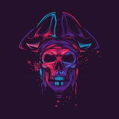 Pirate skull in a cocked hat. Neon vector illustration. Original t-shirt design