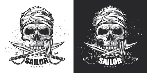 Skull pirate sailor with swords. Vector monochrome illustration on white and dark background