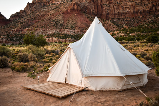 White camping tent in the desert