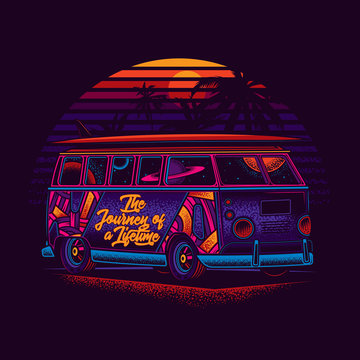 A hippie van with a surfboard on the roof, against the sea and sunset. Original, bright vector illustration in neon style. T-shirt or sticker design.
