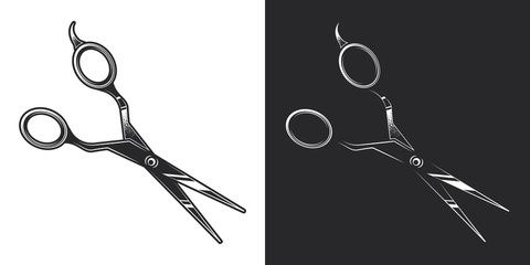 Scissors for cutting hair. Monochrome vector illustration on white and dark background. Design element.