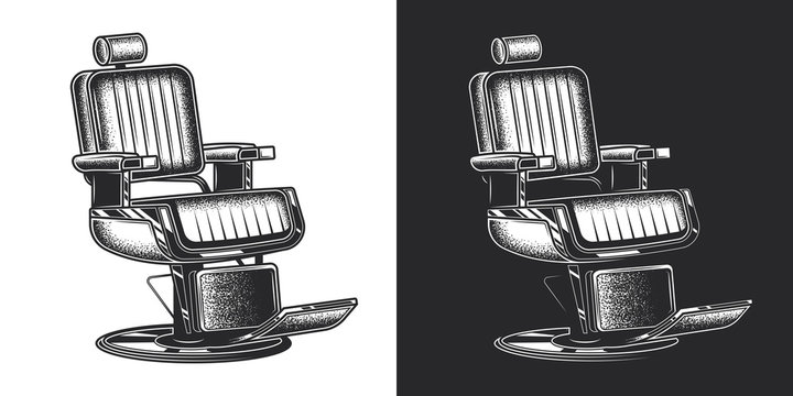 Barber's chair. Monochrome vector illustration on white and dark background. Design element.