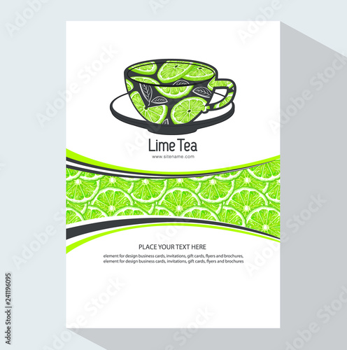 creative business brochure template with lime, vector
