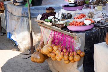 Local shop street market Doi Tung Royal Villa and Mae Fah Luang Garden in Chiang Rai, Thailand