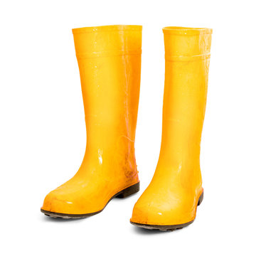 Yellow rubber boots isolated on white background. Wet dirty boots. ( Clipping path )