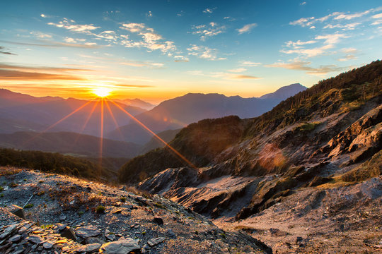 Inspirational sunrise landscape image of Hehuanshan Mountain, Taiwan