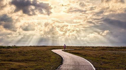 A person walking alone along s-shape path. The sun produces amazing light rays across the sky. The image is simple and breathtaking. This image is suitable for background use or add quote above. Wall mural