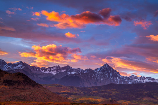 Dramatic sunrise over the Dallas Divide in Colorado's San Juan Mountains