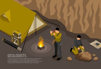 Geologist Camp Isometric Illustration