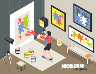 Modern Art Studio Isometric Illustration