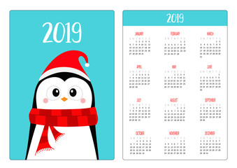 Penguin wearing red Santa hat and scarf. Merry Christmas. Simple pocket calendar layout 2019 new year. Week starts Sunday. Cartoon character. Vertical orientation. Flat design. Blue background.