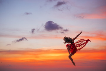 Ballet dancer at sunset
