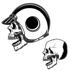 Biker skull in racer helmet. For logo, label, sign, poster, card.
