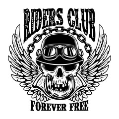 Riders club. Emblem template with biker skull and wings. Design element for poster, card, t shirt.