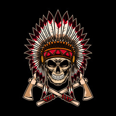 Native indian chief skull with crossed tomahawks on dark background. Design element for logo, label, emblem, sign.