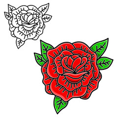 Rose illustration in tattoo style isolated on white background. Design element for emblem, sign, poster, card.