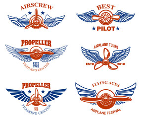 Set of vintage airplane show emblems. Design elements for logo, label, sign, menu.