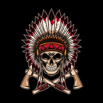 Native indian chief skull with crossed tomahawks on dark background. Design element for logo, label, emblem, sign.