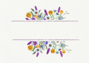 Wedding frame of wild flowers. Waterclor. Flower arrangement. Greeting card template design. Invitation background.
