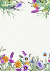Wedding vertical frame of wild flowers. Watercolor. Flower arrangement. Greeting card template design. Invitation background. Vertical orientation