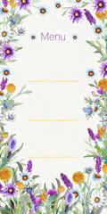 Wedding frame of wild flowers. Watercolor. Flower arrangement. Greeting card template design. Invitation background. Vertical orientation