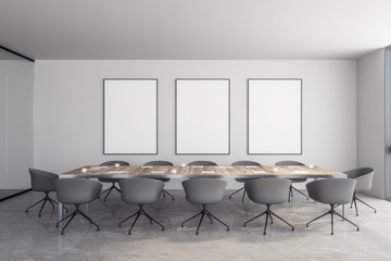 Modern meeting room with billboard