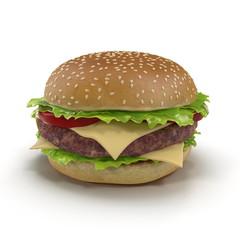 Hamburger 3D Illustration Isolated on White Background
