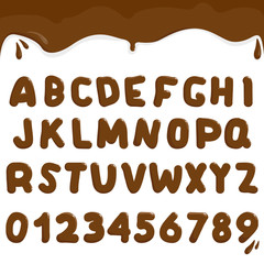 Chocolate alphabet and numbers. Vector illustration