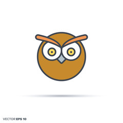 Cute owl color filled line icon vector