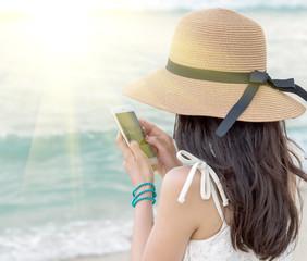 Girl selfie in Beach